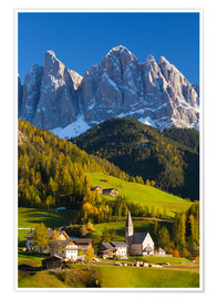 Poster  St. Magdalena, Val di Funes, Trentino-Alto Adige, Dolomites, South Tyrol, Italy, Europe - Miles Ertman