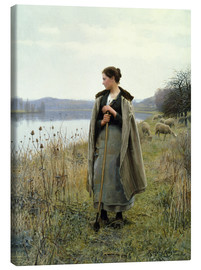 Tableau sur toile  The Shepherdess of Rolleboise - Daniel Ridgway Knight