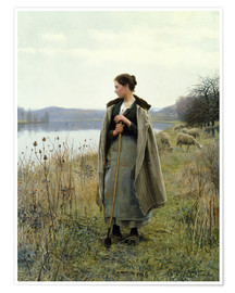 Poster  The Shepherdess of Rolleboise - Daniel Ridgway Knight