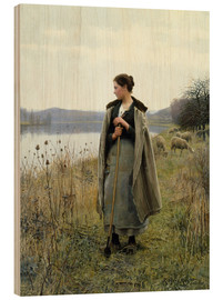 Tableau en bois  The Shepherdess of Rolleboise - Daniel Ridgway Knight