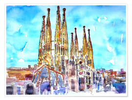 Poster  A turquoise heaven above the Sagrada Familia in Barcelona Catalonia - M. Bleichner