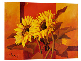 Tableau en verre acrylique  Two sunflowers III - Franz Heigl