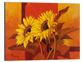 Tableau en aluminium  Two sunflowers III - Franz Heigl