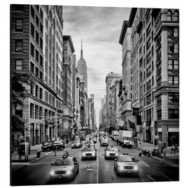 Tableau en aluminium  NYC 5th Avenue - Circulation (monochrome) - Melanie Viola
