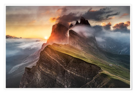 Poster  Sunrise in the Dolomites at Seceda - Andreas Wonisch