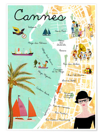 Poster  Collage vintage Cannes - GreenNest