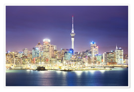 Poster Auckland city center skyline at night, New Zealand