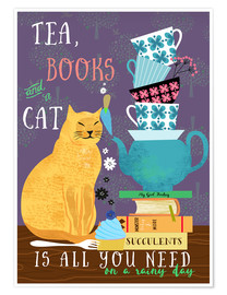 Poster  Tea, books and a cat - Elisandra Sevenstar