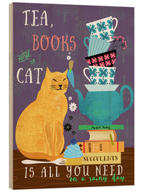 Tableau en bois  Tea, books and a cat - Elisandra Sevenstar