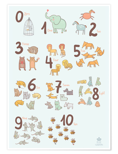 Poster Chiffres et animaux (anglais)