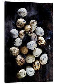 Tableau en verre acrylique  Quail eggs on Ebony - K&L Food Style