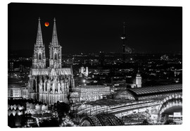 Tableau sur toile  Blutmond over the Cologne Cathedral - rclassen