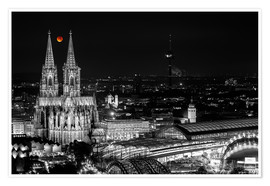Poster  Blutmond over the Cologne Cathedral - rclassen