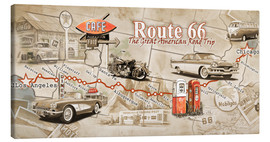 Toile  Route 66 Map - Georg Huber