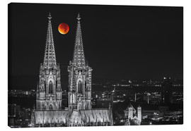 Tableau sur toile  Blood Red Moon Cologne Cathedral - rclassen