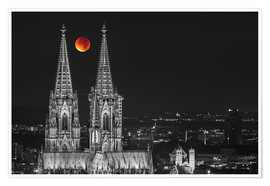 Poster  Blood Red Moon Cologne Cathedral - rclassen