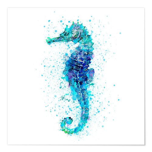 Poster Hippocampe turquoise