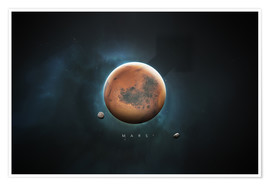 Poster Système solaire, Mars (anglais)