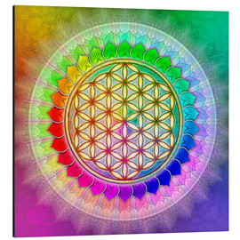 Alu-Dibond  Flower of Life - Rainbow Lotus Artwork II - Dirk Czarnota