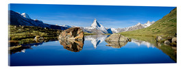 Tableau en verre acrylique  Swiss mountains with the Matterhorn and Stellisee - Jan Christopher Becke