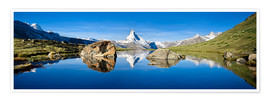 Poster  Swiss mountains with the Matterhorn and Stellisee - Jan Christopher Becke