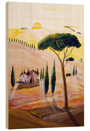 Tableau en bois  Tuscany in the morning - Christine Huwer