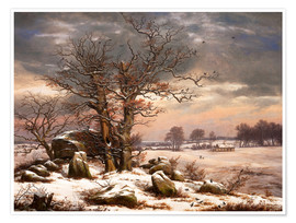 Poster Megalithic grave in winter