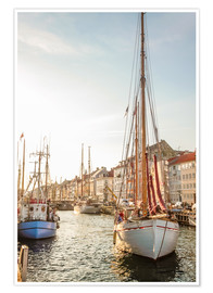 Poster  Old sailing boat in evening light in Nyhavn in Copenhagen. Denmark - Christian Müringer