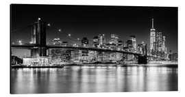 Tableau en aluminium  Skyline de New York City avec le pont de Brooklyn (monochrome) - Sascha Kilmer