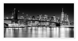 Poster  Skyline de New York City avec le pont de Brooklyn (monochrome) - Sascha Kilmer