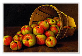 Poster STILL LIFE WITH OVERTURNED BASKET OF APPLES