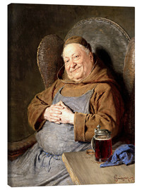 Toile  Sitting monk with tankards - Eduard Grützner