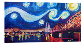 Tableau en verre acrylique  Starry Night in Cologne - Van Gogh inspirations on Rhine with Cathedral and Hohenzollern Bridge - M. Bleichner
