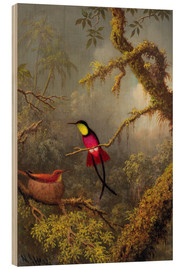 Tableau en bois  Couple de colibris topaze - Martin Johnson Heade