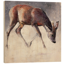 Tableau en bois  Jung deer in winter - Mark Adlington