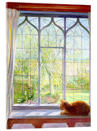 Verre acrylique  Cat in window in spring - Timothy Easton