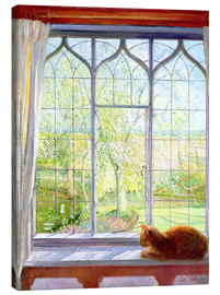 Toile  Cat in window in spring - Timothy Easton