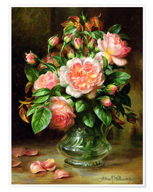 Poster  English Elegance Roses in a Glass - Albert Williams