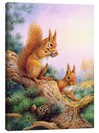 Tableau sur toile  Pair of Red Squirrels on a Scottish Pine - Carl Donner