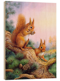 Tableau en bois  Pair of Red Squirrels on a Scottish Pine - Carl Donner