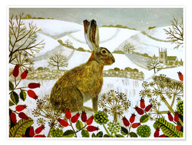 Poster  Seated Hare in Snow - Vanessa Bowman