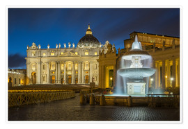 Poster  Fountain at the St. Peters square Roma - FineArt Panorama