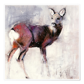 Poster  Shy deer in the snow - Mark Adlington