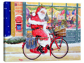 Tableau sur toile  Father Christmas on a Bicycle - Tony Todd