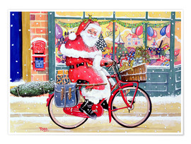 Poster Father Christmas on a Bicycle