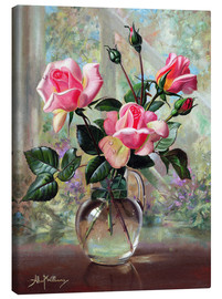 Tableau sur toile  Madame Butterfly Roses in a Glass Vase - Albert Williams