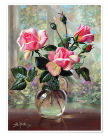 Poster  Madame Butterfly Roses in a Glass Vase - Albert Williams