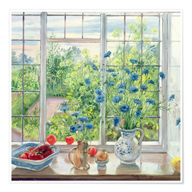 Poster  Cornflowers and Kitchen Garden - Timothy Easton