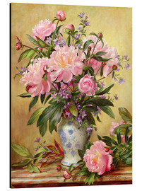 Alu-Dibond  Vase de pivoines et cloches de Canterbury - Albert Williams