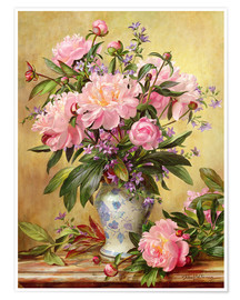 Poster  Vase de pivoines et cloches de Canterbury - Albert Williams